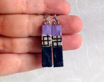 Navy Mauve Striped Hanji Paper Earrings OOAK Patchwork Purple Beige Blue Hypoallergenic Dangle Earrings Lightweight Small Paper Earrings