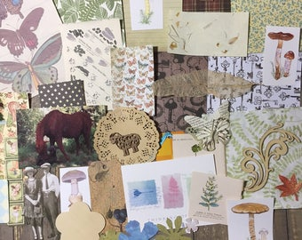 Enchanted Woodland Inspired Mixed Media Junk Journal Collage Scrapbook Creativity Assortment