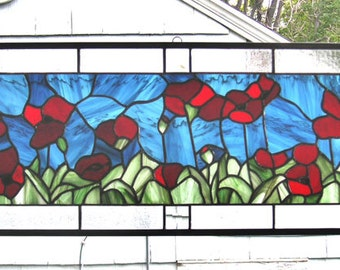 """Stained Glass Window Panel--Red Oriental Poppies 11"""" x 35"""""""