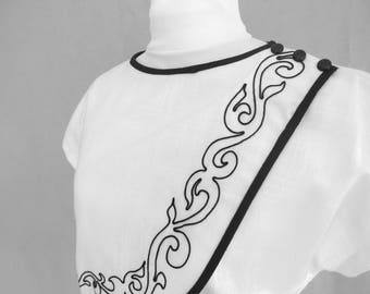 White and Black Dress, Vintage 1980's Dovani Dress, Modern Size 6 to 8, Small