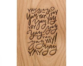 Yay Word Pattern - Wood Birthday Card