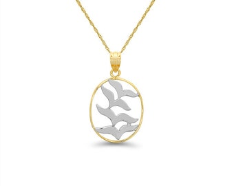 """14k solid gold two tone flock of birds pendant on an 18"""" gold chain."""