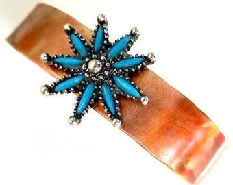 Mixed Metal Cuff Bracelet, Turquoise Inlay, Copper Silver, Southwestern Cowgirl Jewelry, Gifts for Women, Recycled Star Flower Sunburst B255