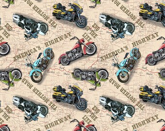 Motorcycle Fabric By The Yard / Motorcycles on Map Fabric /American Dream Motorcycles Fabric / Blank Quilting 8740 / Fat Quarter and Yardage
