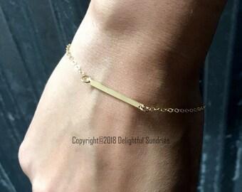 Gold Filled Bar Bracelet, Gold Bracelet, Minimalist Bracelet, Minimalist Jewelry, Gold Bar, GOLD FILLED, Custom Length, Designer Jewelry