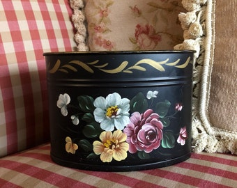 French Country handpainted Floral Roses Tole Office Desk Container