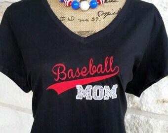 Women's appliquéd and embroidered Baseball MOM shirt