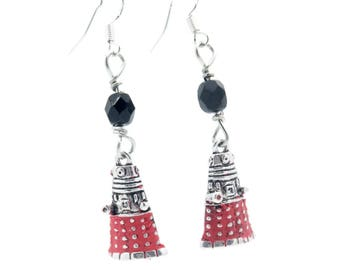 Dr. Who Dalek Earrings Red And Black