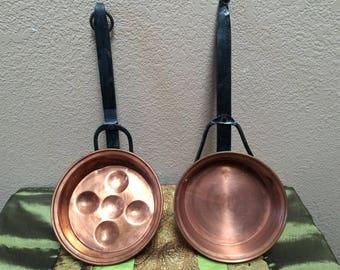 COPPER and CAST IRON Pan Set, Rustic Farmhouse Copper Pans, Copper Pans with Cast Iron Handles