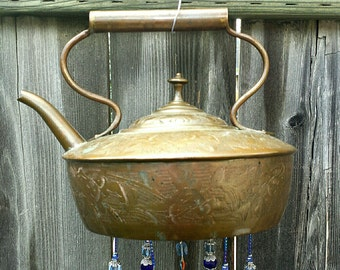 Copper and Cloisonne - Exotic Teapot Wind Chime