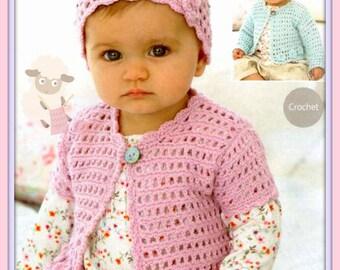 Instant Download - PDF Crochet Pattern - Babies Crochet Cardigan & Hat Set - Instant Download