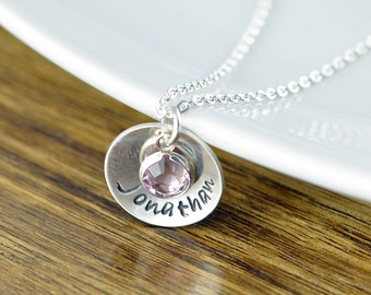 Silver Necklace - Personalized Name Birthstone Necklace - Stamped Name Necklace - Personalized Jewelry, Mother's Necklace, Personalized Gift