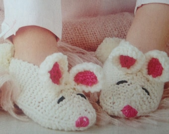 Bunny Slippers Instant Down load Knitting Pattern PDF File Baby Slippers Rabbit Bootees Shoes Booties