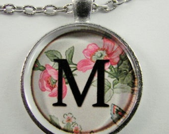 """Initial """"M"""" Necklace -- Spring pattern Personalized Letter M Necklace, Wedding Necklace, Bridesmaid Necklace, Hen Night Necklace, Friendship"""