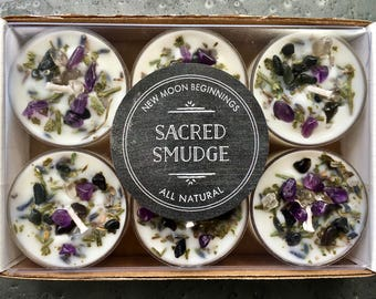 Sacred Smudge Candles - Crystal & Herb Candles - Energy clearing - Aromatherapy Candles - soy candle - Tealight Candles Lavender Sage Cedar