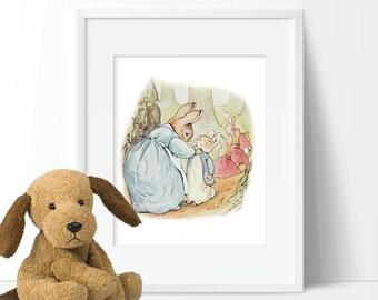 Peter Rabbit Nursery Art - Peter Rabbit Bedroom Art - Girl Nursery Art - Boy Nursery Art - Peter Rabbit Art - Peter Rabbit Decor (S-284)