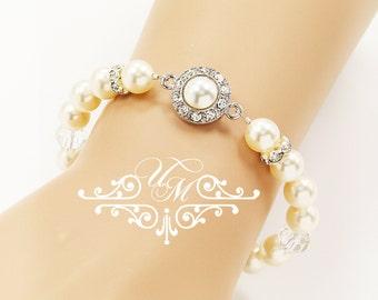 Wedding Jewelry Single strands Swarovski Pearl Bracelet Rhinestone bracelet Swarovski crystal Bracelet - ORIANA