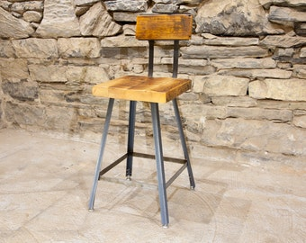 FREE SHIPPING: The Brewster - Industrial Style Bar Stools with Reclaimed Wood Seats and Backs - Great for restaurants, bars and cafes!