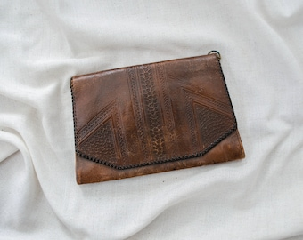 antique tooled leather purse | 1920s tooled leather clutch