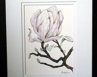 Magnolia Flower - Original Watercolor and Pen and Ink, Magnolia, Flower Art, Wall Art, Watercolor Flower, Purple Flower, Mother's Day
