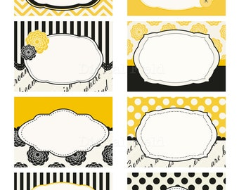 Black, yellow&cream printable digital journaling cards, tags or labels clip art set - instant download