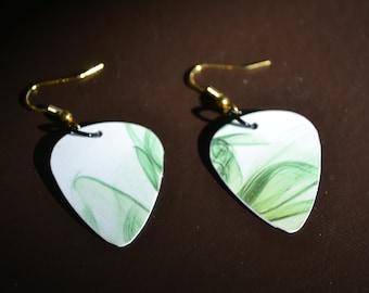 Green Whispy Earrings, Guitar Pick Earrings, Upcycle Earrings