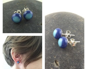 Blue Studs / Tiny Blue Stud Earrings / Glass Stud Earrings / Fused Glass Jewelry / Glass Studs /  Glass Jewelry / Handmade in Texas
