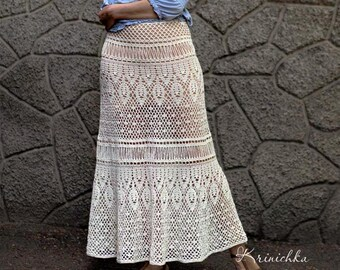 Crochet maxi skirt PATTERN for sizes S-5XL, Boho crochet skirt tutorial, crochet bohemian maxi wedding skirt, pattern crochet white skirt