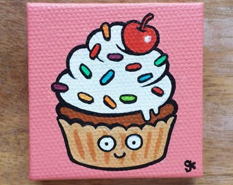 Cupcake Painting / Cute Cartoon Food Sprinkle Cupcake / Cherry on top / Mini Painting