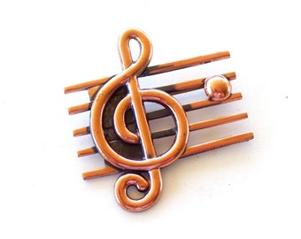 Vintage RENOIR Copper Music Notes Treble Clef Pin Brooch, Vintage Copper Pin, Renoir Music Pin, Vintage Music Jewelry, Unisex Musician Gift