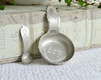 Pewter salt cellar and spoon, vintage Swedish Saami hand craft, hand forged folk art, Lapland Sweden