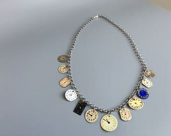 Necklace with vintage dials