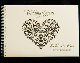 Wedding Guest Book Filigree Heart A5 size