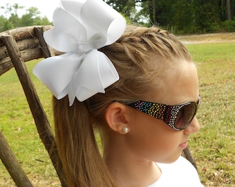 Large Portrait, Hair Bows, Basic Huge, Ribbon Barrettes, Girls School Uniform Easter Formal Solid Custom Boutique Handmade Kids Beach Preppy
