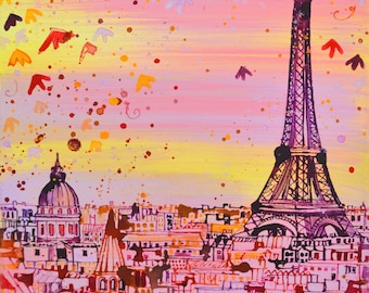 PAINTING of PARIS ~ Eiffel Tower Paris, Acrylic Painting on Canvas, Small Art, Wall Art, Original Art, Ready to Hang