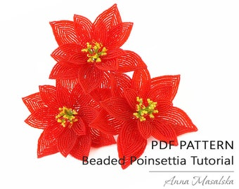 Beaded Poinsettia, French beading technique, PDF tutorial, Tutorial, seed beadweaving, home décor, gift