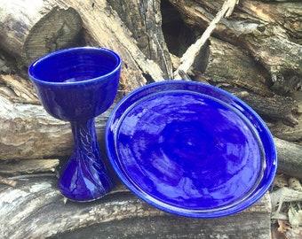 Cobalt Blue Wheat Chalice and Paten Communion Set Handmade Pottery by Daisy Friesen