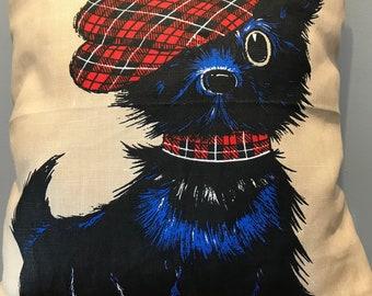 Scotty dog vintage tea towel cushion-handmade in WA by violetclothing