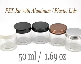 Freeshipping - Empty Clear PET Jars with Aluminum / Plastic Lids 50ml 1.69oz