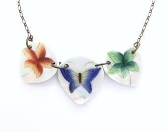 Broken china jewelry - butterfly statement necklace - recycled dishes