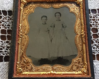 Antique Tintype Photo of Two Children in White Robes
