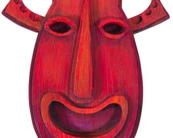 Pukalani Tiki Mask - Red Rum Red