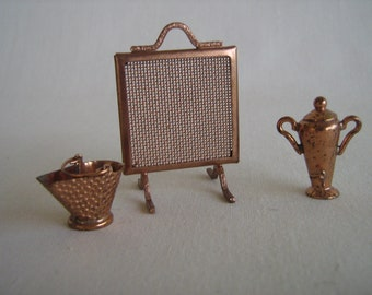 Vintage Miniature Dollhouse Copper Accessories- Fire Screen, Coal Scuttle and Coffee Urn/Samovar