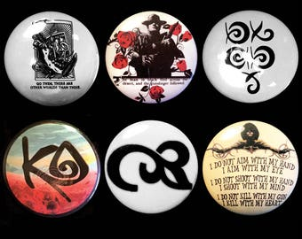 The Dark Tower Stephen King Set of Buttons, Magnets or Stickers