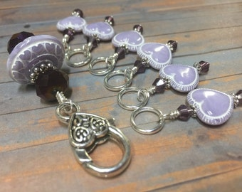 Lavender Heart Stitch Marker Set- Snag Free- Stitch Marker Holder- Knitting Jewelry- Gift for Knitters- Accessories