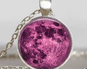 Magenta moon necklace, full moon jewelry, moon pendant, lunar pendant, moon jewelry , space pendant