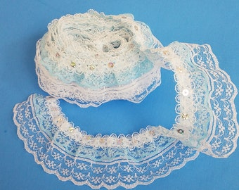 White and Blue Multi-Layer Ruffled Lace Sewing Trim with Sequins 3 Yards by Inches Wide L0705