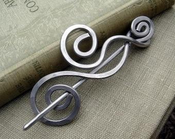 Aluminum Dancing Swirls and Waves Shawl Pin, Scarf Pin, Sweater Brooch, Hair Pin, Light Weight Hair Accessories, Knitting Knitter Gift Women