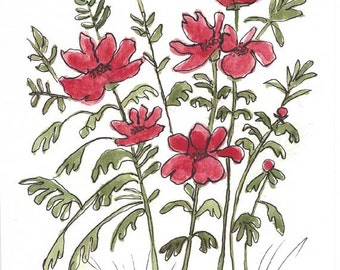 Original Artwork Watercolor and Ink Painting - Red Flowers - Abstract Style - Nature Art