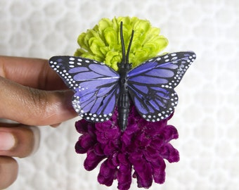 Double Grape Vine Pom Hair Flower with Indigo Monarch Butterfly // High End Hair Care Product // Luxury Hair Styling Accessory for Girls
